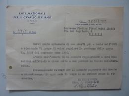 """Lettera Dattiloscritta """"ENTE NAZIONALE PER IL CAVALLO ITALIANO ( E.N.C.I.) Contessa Piccolomini Aluffi"""" Siena 1950 - Documenti Storici"""
