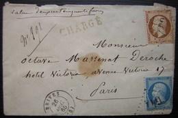 Brives (Corrèze) 1865 Lettre Chargée Valeur 250 Francs Timbres à 40 Centimes Et à 20 Centimes Gc 647 - 1849-1876: Période Classique