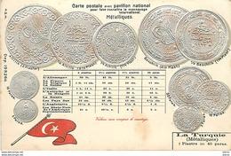 Carte Gaufrée - Carte Postale Avec Pavillon National Pour Faire Connaître Le Monnayage International - La Turquie - Coins (pictures)