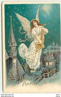 Carte Gaufrée - Bonne Année - Ange Gardien Distribuant Des Pièces D'or Sortant D'une Corne D'abondance - Anno Nuovo