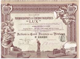 """Titre Ancien - Société Des Phonographes & Cinématographes """"LUX"""" -Titre De 1907 - DECO - Cine & Teatro"""