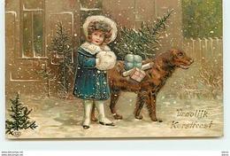 Carte Gaufrée - Vroolijk Kerstfeest - Fillette Et Un Chien Sous La Neige - Holidays & Celebrations