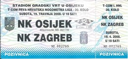 Sport Ticket UL000740 - Football (Soccer Calcio) Osijek Vs Zagreb 2008-04-19 - Match Tickets