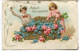 CPA - Carte Postale - Fantaisie - 2 Enfants - Fleurs - Mille Baisers - Carte En Relief (I9781) - Scènes & Paysages