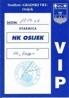 Sport Ticket UL000760 - Football (Soccer Calcio) Osijek Vs Zadar 2003-09-13 - Match Tickets