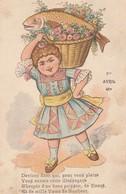 Poisson D'avril : Illustration : Fille Portant Sur Son épaule Un .........( Colorisée ) Précurseur - 1 De April (pescado De Abril)