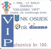 Sport Ticket UL000768 - Football (Soccer Calcio) Osijek Vs Dinamo Zagreb 2000-11-29 - Match Tickets