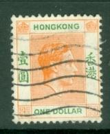 Hong Kong: 1938/52   KGVI     SG156b     $1   Red-orange & Green  [Chalk]   Used - Hong Kong (...-1997)
