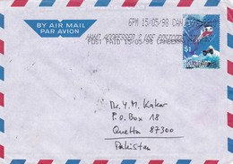 1998 AUSTRALIAN ANTARCTIC TERRITORY TO PAKISTAN COVER WITH HELICOPTER STAMP - Other