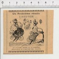 Presse 1899 Humour Cyclisme Aérien Féminin Ancienne Bicyclette Vélo Aviation Ballon Gonfleur Pompe à Air  226Z - Non Classificati