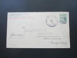 El Salvador 1896 GA Umschlag Santa Ana - Hannover Via Panama - New York Schiffspost Mit Ak Stempel K1 Hannover *V - El Salvador