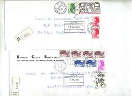 Lot 40 Lettre Recommandée Cachet Gard à Voir Entete Club Football - Marcophilie (Lettres)