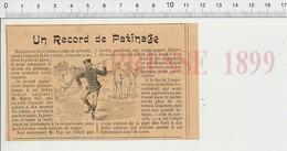 Presse 1899 Humour Patinage Sur Glace Record De Harry Tay Record Patins à Glace   226Z - Non Classificati