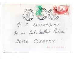 AFFRANCHISSEMENT COMPOSE SUR LETTRE DE CHAMBLET ALLIER 1987 - Poststempel (Briefe)