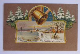 """""""Weihnachten, Winterlandschaft, Glocke, Tannen"""" 1907, Prägekarte  ♥  (51196) - Natale"""