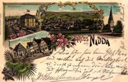 Nidda, Farb-Litho Mit Bahnhofstrasse, 1903 - Wetterau - Kreis