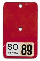 Velonummer Erste VIGNETTE Nach Den Velonummern Solothurn SO 89 - Number Plates