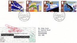 GB  -  Transport And Communications  -  Plane-Tram-Boat-Trains  -  4v FDC - Premier Jour D'Emission Envelope - Transports