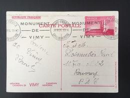 1936 Vimy Entier Postal 2 Canadien Mémorial - France