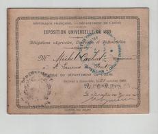 Carton Exposition Universelle 1889 Cachat Mécanicien Saint Laurent Du Pont - Non Classificati