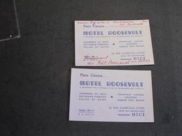 NICE - HOTEL ROOSEVELT Rue Maréchal Joffre 16 - 2 Cartons Publicitaires - Publicidad