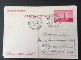 1936 Vimy Entier Postal 10 Canadian Mémorial - France