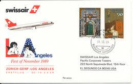 Liechtenstein Swissair First Flight Zurich - Genf - Los Angeles 1-11-1989 - Liechtenstein
