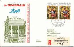 Liechtenstein Swissair First Flight Mail Zurich - Oran Algeria 6-4-1977 - Storia Postale