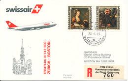 Liechtenstein Swissair First Flight Zurich - Boston B-747-300 28-3-1983 - Liechtenstein