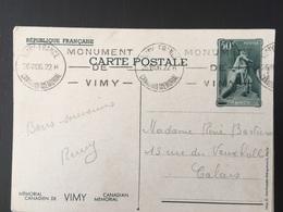 1936 Vimy Entier Postal 4 Canadian Mémorial - France