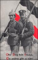 Propaganda-AK Ohn' Sieg Kein Frieden ... Als Feldpost NEUSTADT / SACHSEN 26.7.16 - Militari