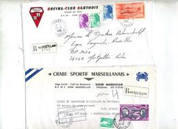Lot 25 Lettre Recommandée Cachet + Machine Marseillan  à Voir Entete Club Football - Manual Postmarks