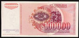 YUGOSLAVIA JUGOSLAVIA  100000 100.000 DINARA 1993  Pick#118  FDS / UNC Lotto.1237 - Jugoslavia