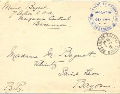 GUERRE 14-18 HABILLEMENT ET CAMPEMENT * BESANÇON * MAGASIN CENTRAL TàD BESANCON-BATTANT DOUBS 7-1-16 - Postmark Collection (Covers)