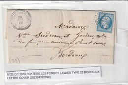 """Lettre Avec Classiques De France: Napoléon N°22 Avec Cachet Perlé """"Pontenx Les Forges"""" Landes, 1866 - 1853-1860 Napoléon III."""