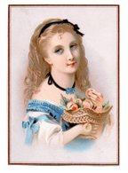 Chromo Papier Pêches Portrait Jeune Fille élégante Corbeille Fruit été Saison Ruban Coiffe Cheveux Lith Testu Massin - Chromos