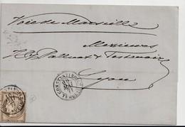 """Lettre Avec Classiques De France:Cérès N°56, Avec Oblitération """"Constantinople/Turquie"""", 1877 - Frankreich"""