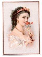 Chromo Papier Oeillet Portrait Jeune Fille élégante Vase Fleur Odeur été Parfum Ruban Coiffe Bijoux Lith Testu Massin - Chromos
