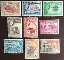 Ghana 1957 Independence Overprint Set To 1s MNH - Ghana (1957-...)