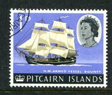 Pitcairn Islands 1964-65 QEII Pictorials - 1d HMS Bounty Used (SG 37) - Francobolli