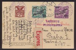 Flugpost Air Mail Tschechoslowakei Express Ab Marienbad N Prag Auf Ansichtskarte - Timbres