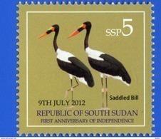 SOUTH SUDAN 2nd Issue = Süd-Sudan 5 SSP Saddle-billed Stork Birds Soudan Du Sud - South Sudan