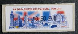 FRANCE - VIGNETTES ILLUSTREES - VIG 84 - 2011 - SALON PHILATELIQUE D AUTOMNE - 2010-... Illustrated Franking Labels