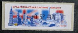 FRANCE - VIGNETTES ILLUSTREES - VIG 85 - 2011 - SALON PHILATELIQUE D AUTOMNE - 2010-... Illustrated Franking Labels