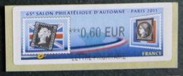 FRANCE - VIGNETTES ILLUSTREES - VIG 88 - 2011 - SALON PHILATELIQUE D AUTOMNE - PARIS - 2010-... Illustrated Franking Labels