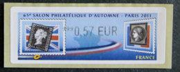 FRANCE - VIGNETTES ILLUSTREES - VIG 89 - 2011 - SALON PHILATELIQUE D AUTOMNE - PARIS - 2010-... Illustrated Franking Labels