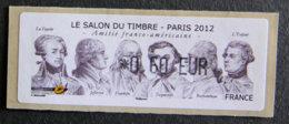 FRANCE - VIGNETTES ILLUSTREES - VIG 100 - 2012 - SALON DU TIMBRE - PARIS - AMITIE FRANCO-AMERICAINE - 2010-... Abgebildete Automatenmarke