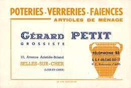 PIE.Montr.19-9693 : SELLES SUR CHER. CARTON  CARTE DE VISITE. GERARD PETIT. POTERIES VERRERIES FAIENCES - Selles Sur Cher