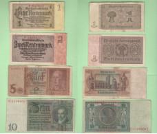 1 2 5 10 Reichsmarks War Currency Germania Deutschland - [ 4] 1933-1945 : Third Reich