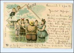 Y13429/ Fotoapparat  Badeleben Frauen Im Wasser Litho Ak 1897 - Cartes Postales